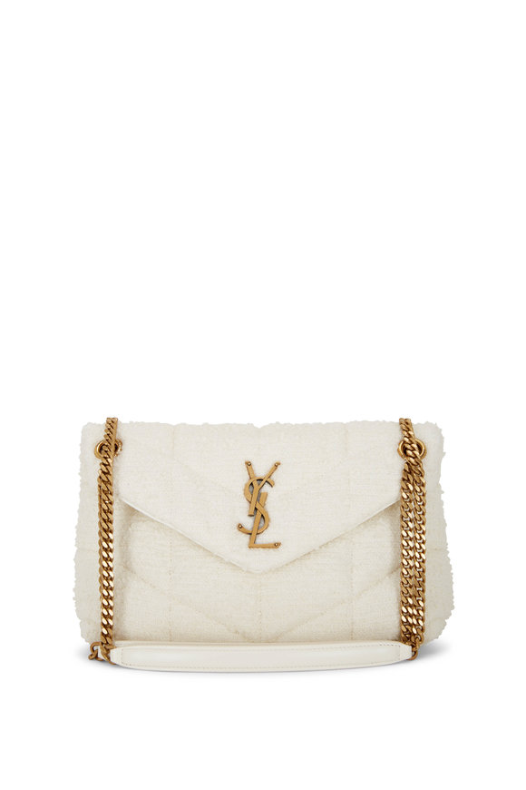 Saint Laurent Loulou Cream Tweed Small Puffer Bag