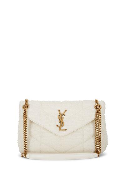 Saint Laurent - Loulou Cream Tweed Small Puffer Bag