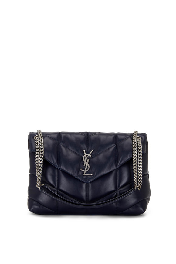 Saint Laurent Loulou Marine Blue Leather Medium Shoulder Bag