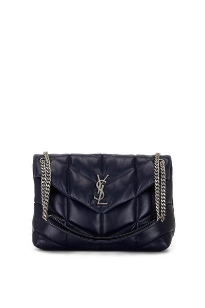 Saint Laurent - Loulou Marine Blue Leather Medium Shoulder Bag