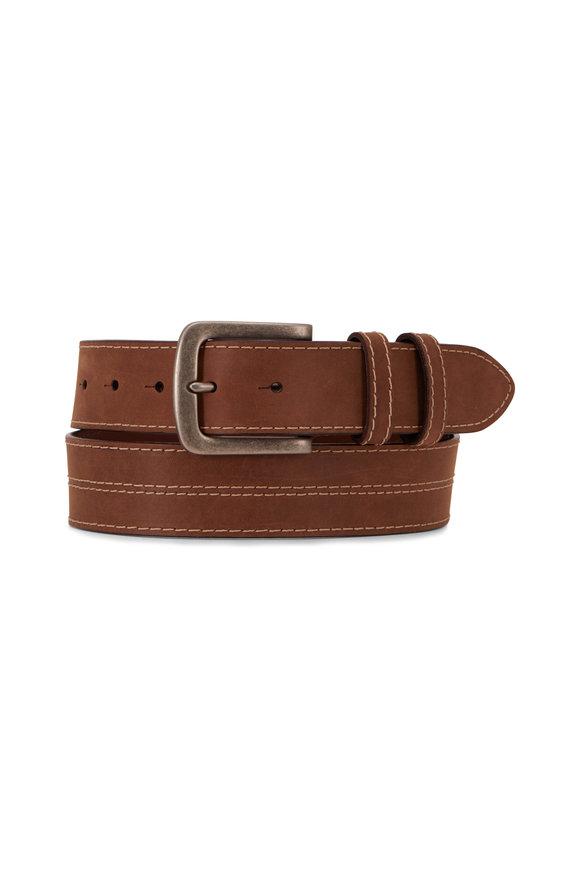 Torino Taupe Leather Top Stitch Belt