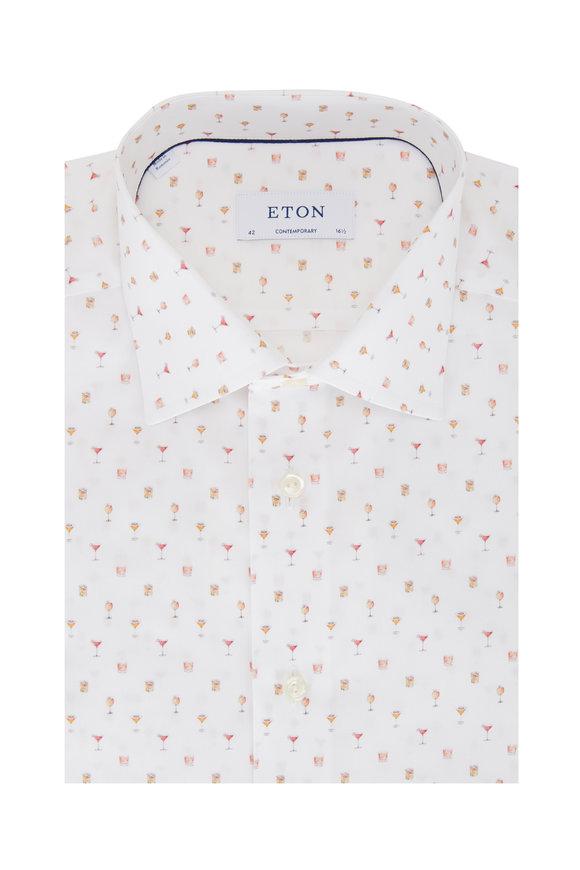 Eton White Cocktail Print Contemporary Fit Sport Shirt
