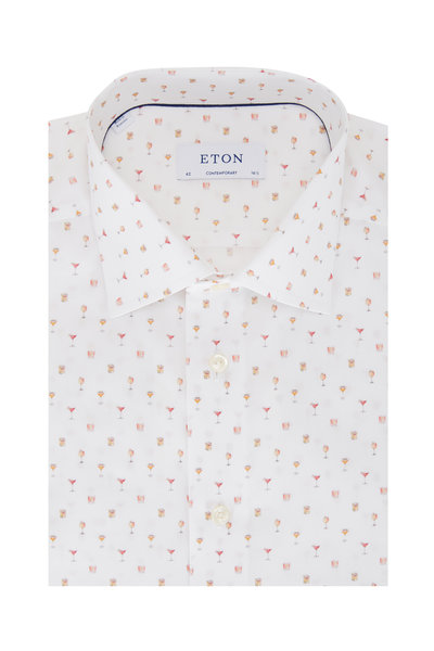 Eton - White Cocktail Print Contemporary Fit Sport Shirt