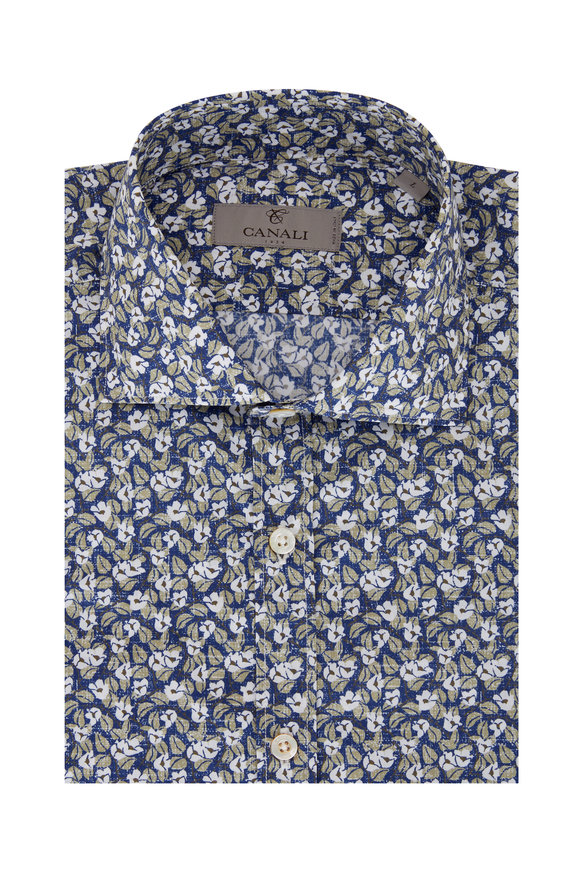 Canali Navy, White & Olive Floral Sport Shirt