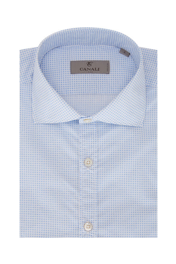 Canali Blue & White Geometric Print Sport Shirt