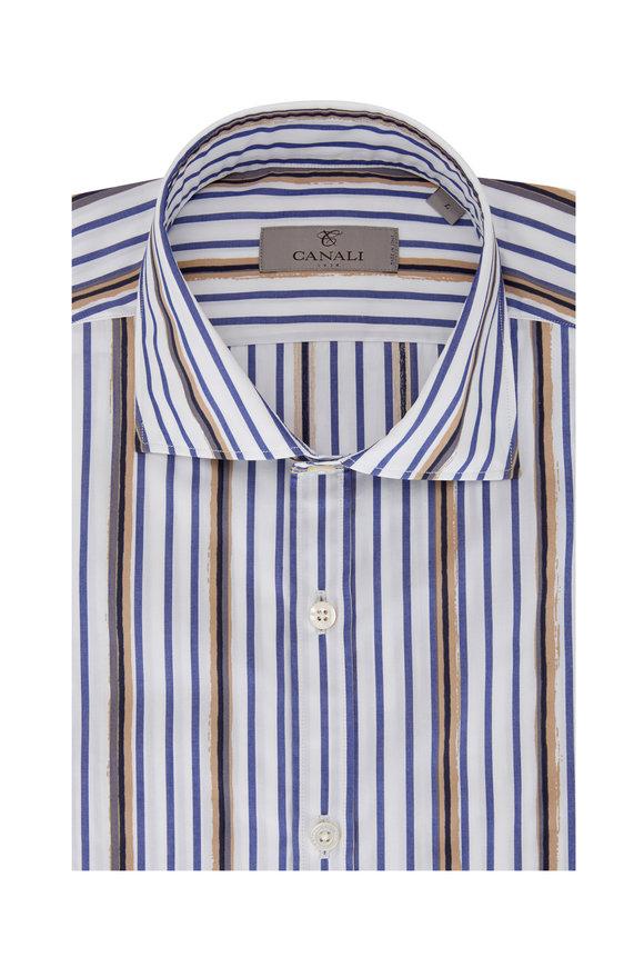 Canali White, Blue & Tan Watercolor Stripe Sport Shirt