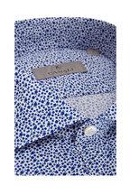 Canali - White & Blue Micro Floral Print Sport Shirt