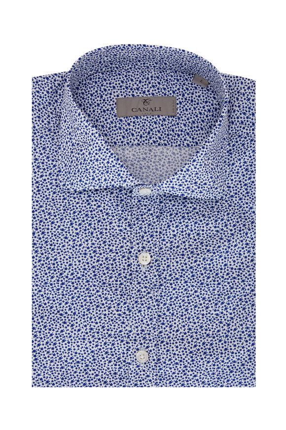Canali White & Blue Micro Floral Print Sport Shirt