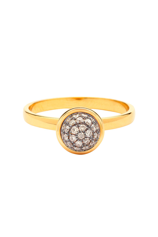 Baubles Yellow Gold Champagne Diamond Stack Ring