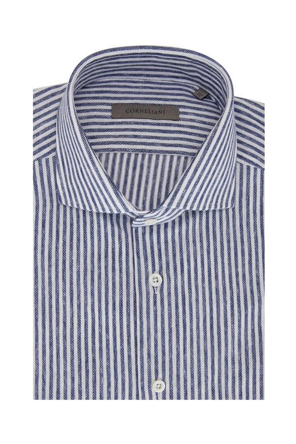 Corneliani White & Blue Bengal Stripe Piqué Sport Shirt