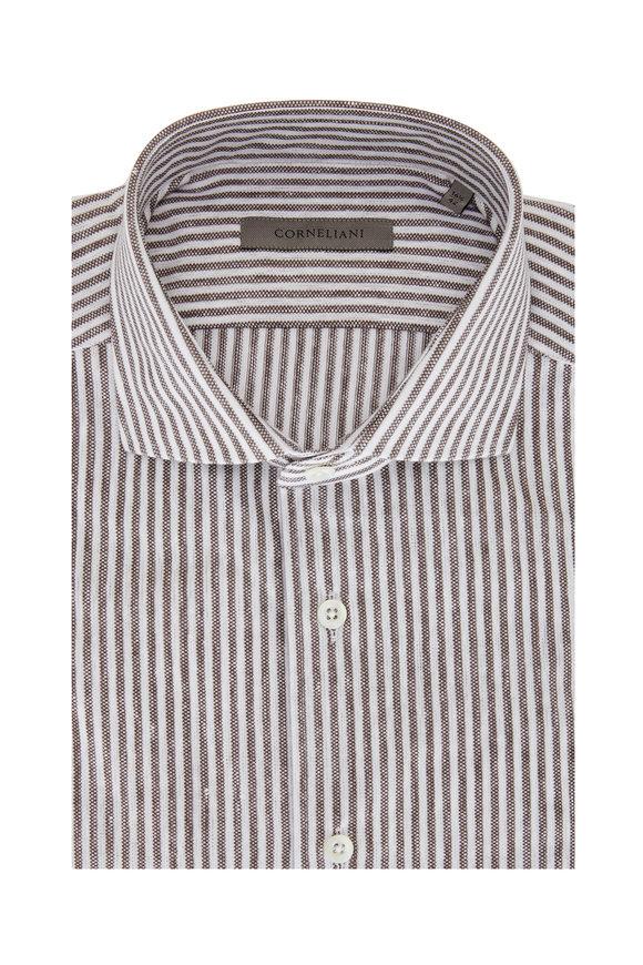 Corneliani White & Almond Bengal Stripe Piqué Sport Shirt