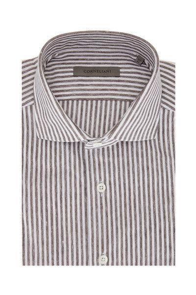 Corneliani - White & Almond Bengal Stripe Piqué Sport Shirt