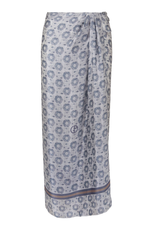Giorgio Armani Ivory Multi Silk Floral Print Skirt