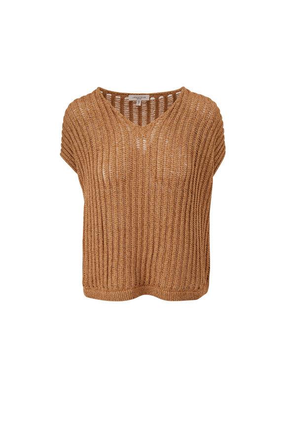 Lafayette 148 New York Honeynut Dropped V-Neck Sweater