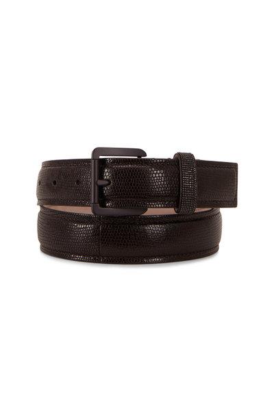 Brunello Cucinelli - Dark Brown Lizard Print Slim Belt