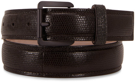 Brunello Cucinelli Dark Brown Lizard Print Slim Belt