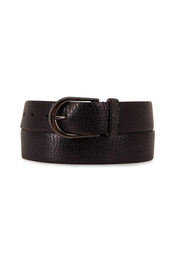 Shiny Black Hammered Leather Belt