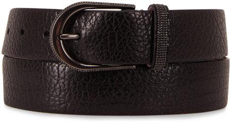 Brunello Cucinelli Shiny Black Hammered Leather Belt