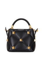 Valentino Garavani - Small Roman Stud The Handle Black Leather Bag