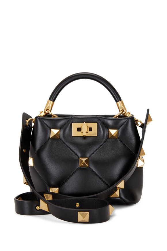 Valentino Garavani Small Roman Stud The Handle Black Leather Bag