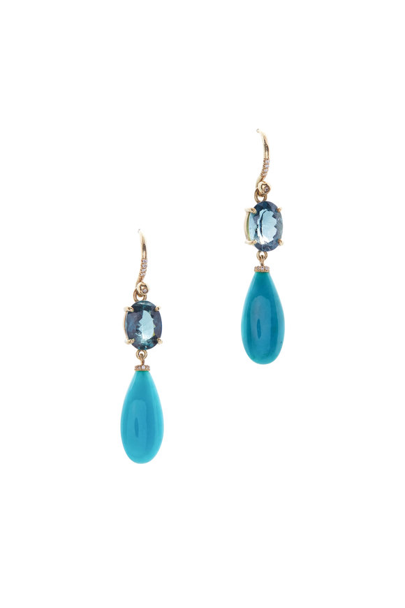 Irene Neuwirth Yellow Gold Indicolite One Of A Kind Earrings
