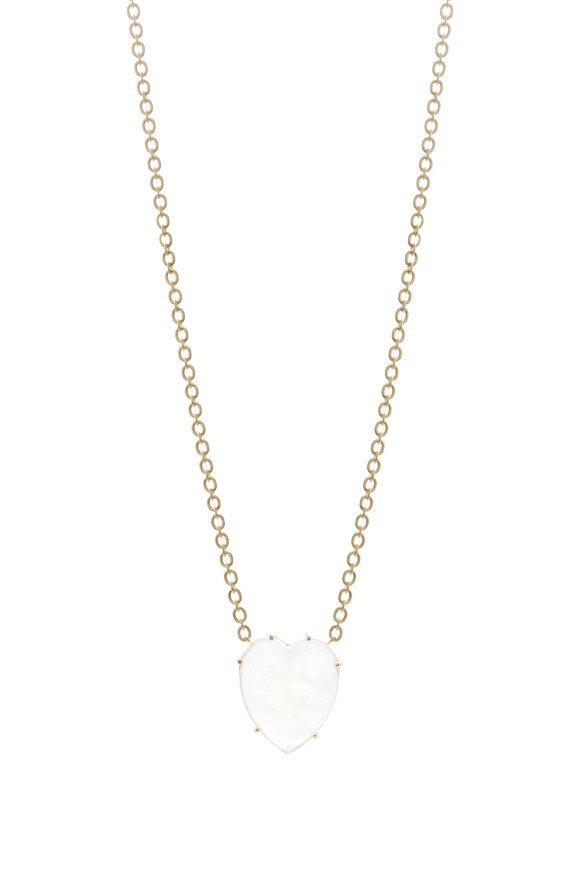 Irene Neuwirth Yellow Gold Rainbow Moonstone Mini Heart Necklace