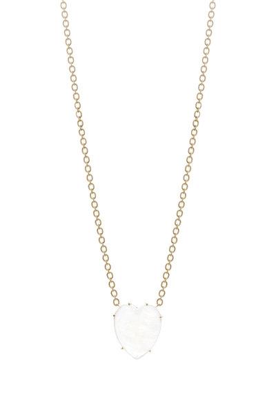 Irene Neuwirth - Yellow Gold Rainbow Moonstone Mini Heart Necklace