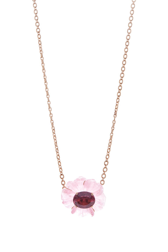 Irene Neuwirth Rose Gold Tropical Flower Necklace