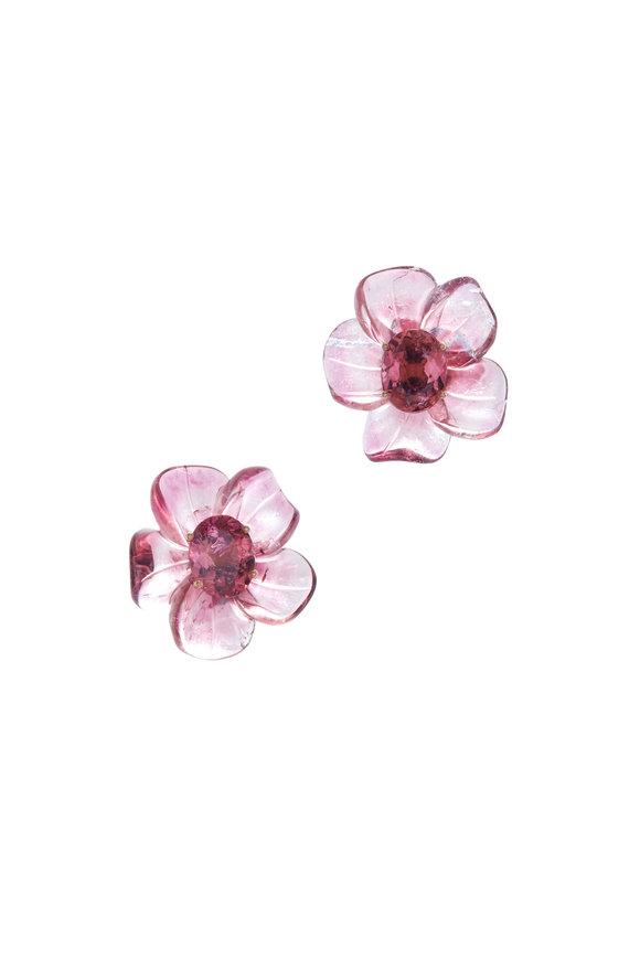 Irene Neuwirth Rose Gold Tropical Flower Studs