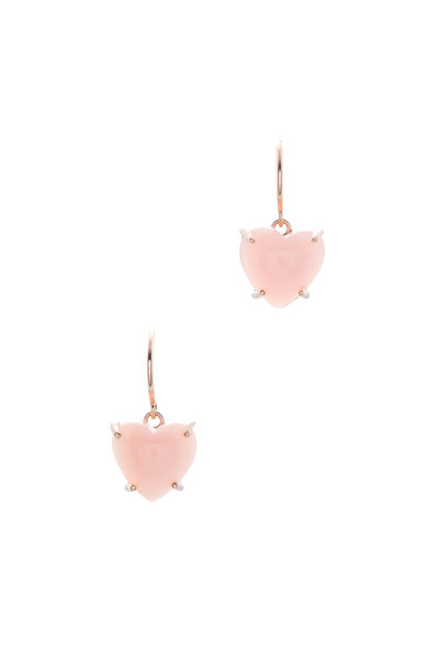 Irene Neuwirth - Rose Gold Pink Opal Heart Earrings