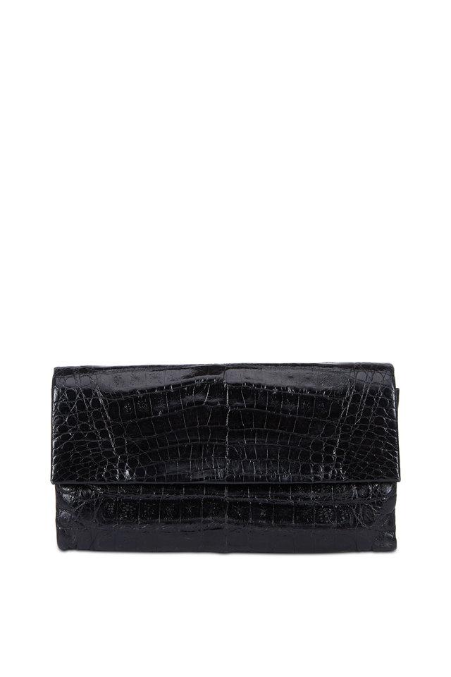 Black Shiny Crocodile Foldover Clutch