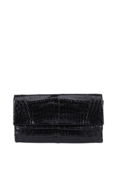 Nancy Gonzalez - Black Shiny Crocodile Foldover Clutch