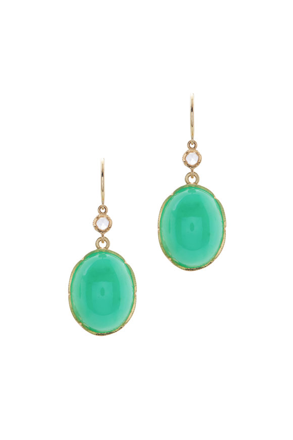 Irene Neuwirth Yellow Gold Oval Stone Drop Earrings