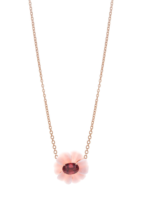 Irene Neuwirth Pink Opal Tropical Flower Pendant Necklace