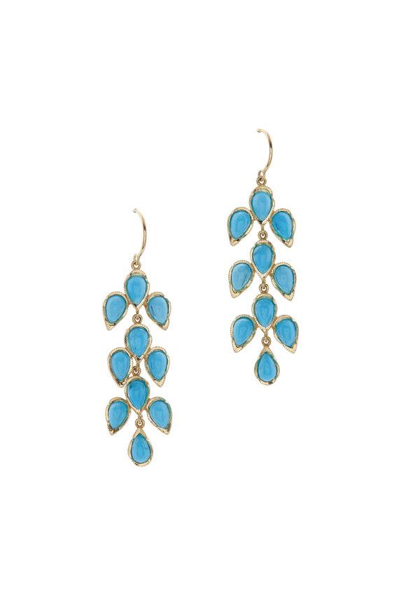 Irene Neuwirth 18K Yellow Gold Turquoise Leaf Earrings