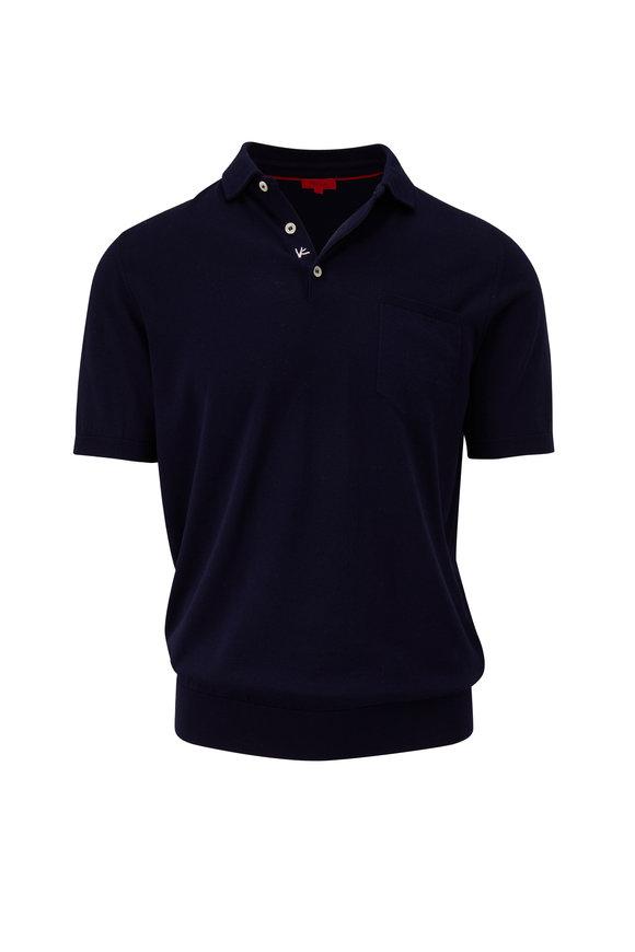 Isaia Navy Short Sleeve Sweater Polo