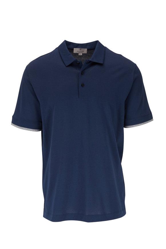 Canali Navy & Gray Trim Short Sleeve Polo
