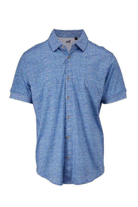 Raffi  Blue Dobby Print Button Down Shirt