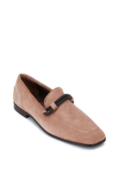 Brunello Cucinelli - Beige Suede Square Toe Loafer