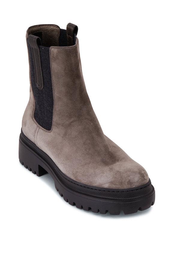 Brunello Cucinelli Dark Gray Suede Lug Sole Boot