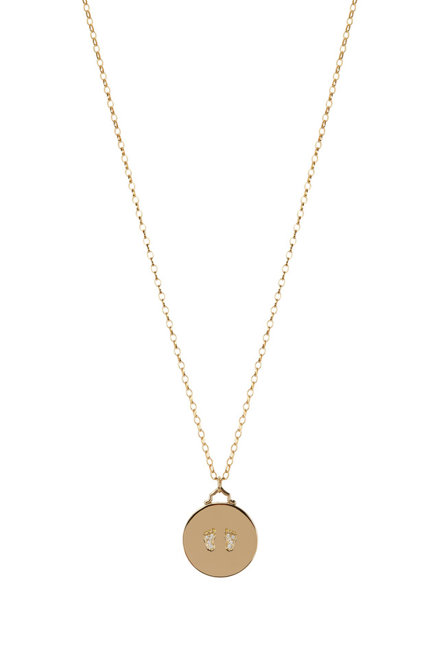 Yellow Gold Baby Birthday Diamond Charm Necklace