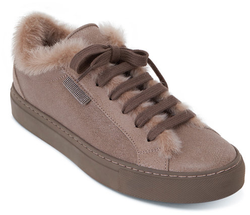 Brunello Cucinelli Elefante Leather Shearling Sneaker