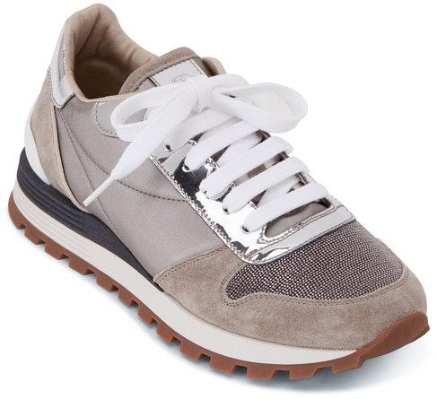 Brunello Cucinelli Silver Metallic Monili Toe Sneaker