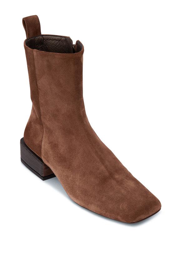 Brunello Cucinelli Brown Suede Monili Heel Ankle Bootie, 30mm