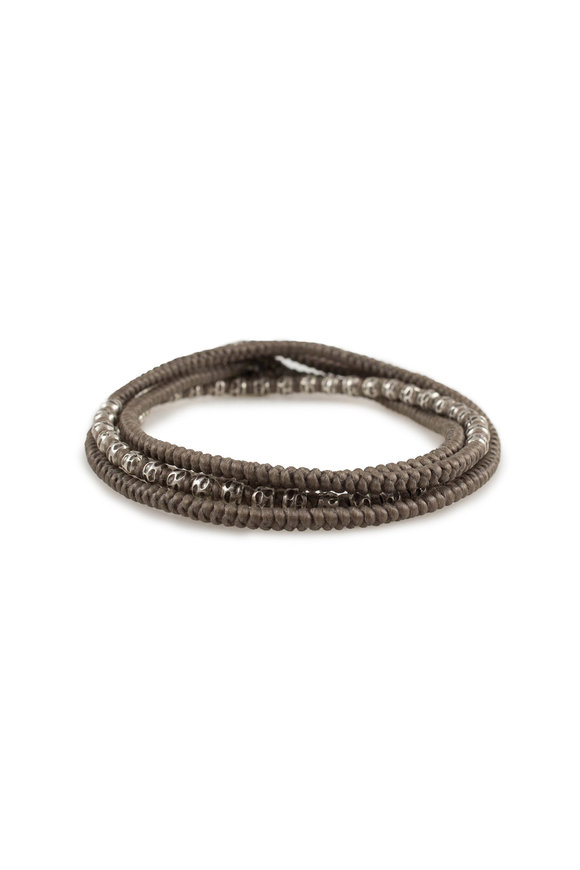 M. Cohen Silver Taupe Knotted Wrap Bracelet