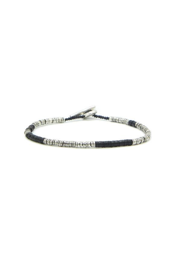 M. Cohen Sterling Silver Black Bead Bracelet