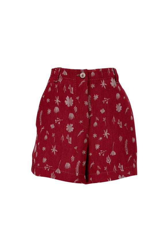 Giorgio Armani Red Jacquard Stretch Linen Shorts