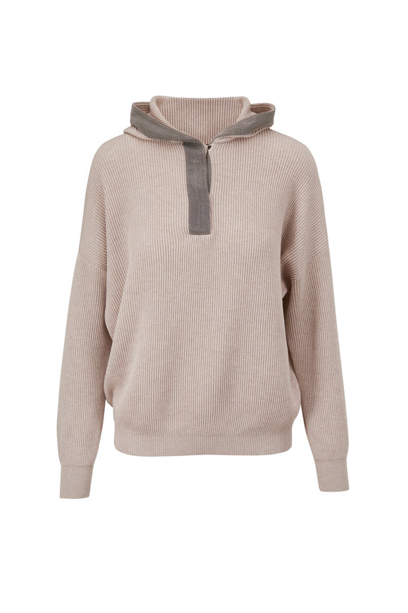 Brunello Cucinelli Oyster Ribbed Sea Island Cotton Hoodie