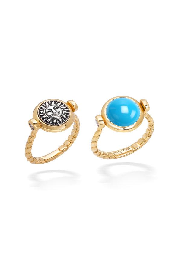 Marina B Yellow Gold Turquoise & Pavé Soleil Flip Ring