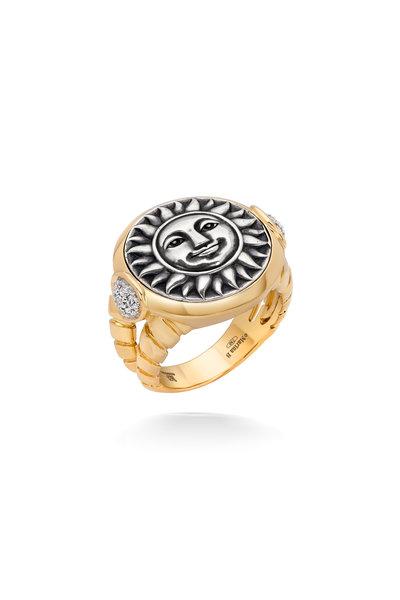 Marina B - Yellow Gold Pavé Soleil Coin Ring
